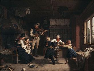 Amalia Lindegren - Image: Söndagsafton i en dalastuga av Amalia Lindegren 1860