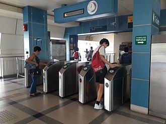 Light Rail Transit (Singapore) - Fare gates at Compassvale LRT station.