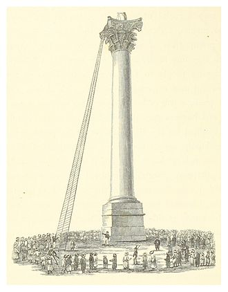 Pompey's Pillar (column) - British Naval Commander John Shortland atop the pillar (1803).