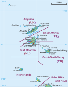 Map Showing Location Of St Barts Relative To Sint Maarten Saint Martin And Kitts