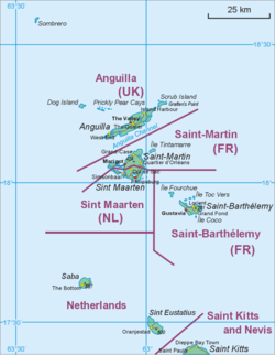 Map showing the location of St. Eustatius relative to Saba and St. Martin