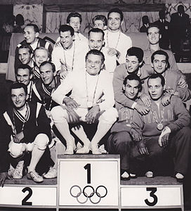 Sabre podium 1960 Olympics men.jpg