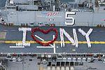 "Sailors onboard USS Bataan pose for a ""I heart New York"" photograph in preparation for Fleet Week New York. (27179029901).jpg"
