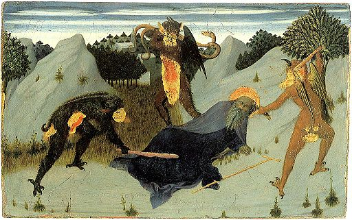 Saint-antony-beaten-by-the-devils-- Sassetta--Siena Pinacoteca