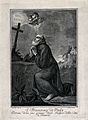 Saint Francis of Paola kneeling in front of a cross, Wellcome V0031967.jpg