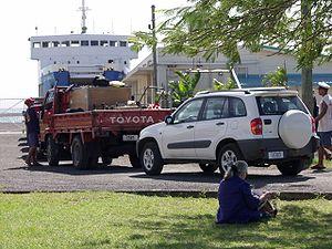 Mulifanua - Cars wait for the Savai'i ferry