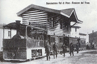 History of trams - Steam hauled tram in Italy c 1890s