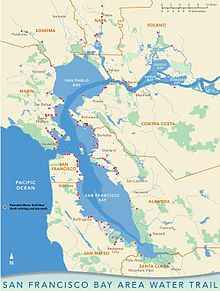 San Francisco Bay Map San Francisco Bay Area Water Trail   Wikipedia