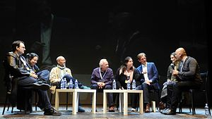 Fantasy literature - Fantasy writers Brandon Sanderson, Steven Erikson, Terry Brooks, Philip Reeve and Joshua Kahn at Lucca Comics & Games 2016.