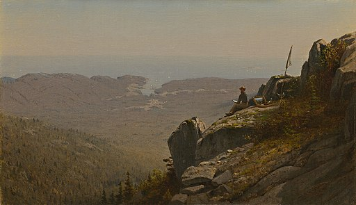 Sanford Robinson Gifford - The Artist Sketching at Mount Desert, Maine (1860s)