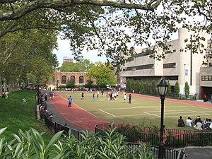 Pace University High School - A view of Pace High School from Sara Delano Roosevelt Park