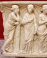 Sarcofago delle muse, 150-200 dc ca, dalla necropoli dell'isola sacra 03 polimnia ed erato.JPG