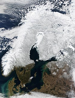 Satellite photo of the Fennoscandian Peninsula and Denmark, as well as other areas surrounding the Baltic Sea, in March 2002.