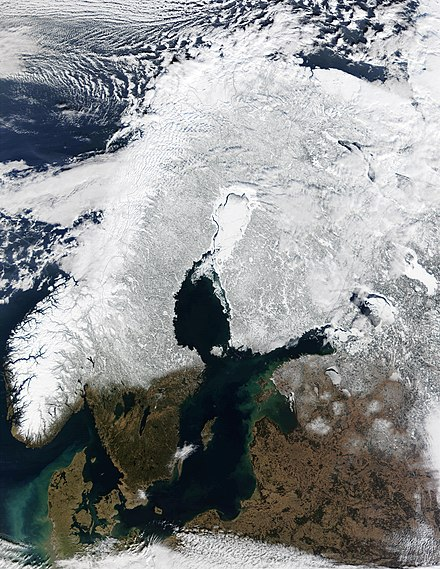 Satellite image of Fennoscandia in winter. The northern part of the Gulf of Bothnia, the Bothnian Bay, is covered with sea ice. Scandinavia M2002074 lrg.jpg