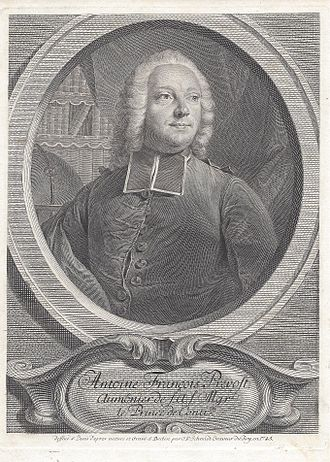 Antoine François Prévost - Illustration of Prévost by Georg Friedrich Schmidt, 1745.