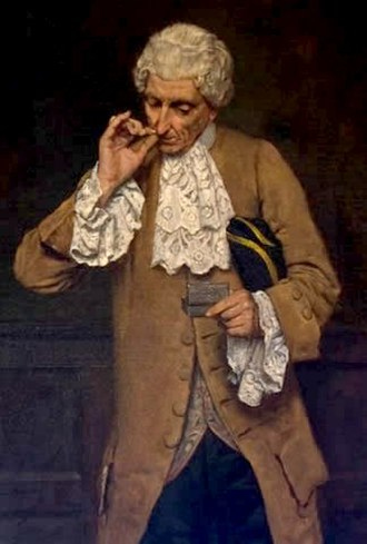 Snuff (tobacco) - Painting of a man taking snuff using the thumb and index finger method