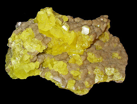Native sulfur crystals. Sulfur occurs naturally as elemental sulfur, in sulfide and sulfate minerals and in hydrogen sulfide.