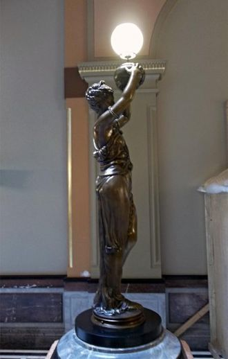 Illinois State Capitol - One of the pair of female statues added to the west wing staircase in the State Capitol as part of the $50 million renovation from 2011-13.