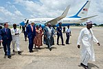 Secretary Kerry Walks With U.S. Embassy Abuja Deputy Chief of Mission David Young After Arriving at Nnamdi Azikiwe International Airport in Abuja (28558936773).jpg