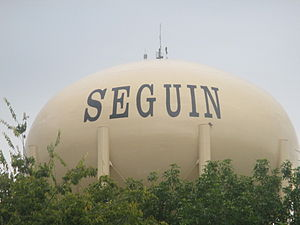 Seguin, Texas - Water tower in Seguin