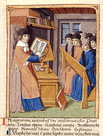 Georgics - Virgil teaching, a miniature from a 15C French manuscript of the Georgics