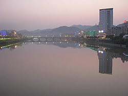 Sha River (沙溪) shortly after sunset