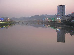 Sha County - Sha River (沙溪) shortly after sunset