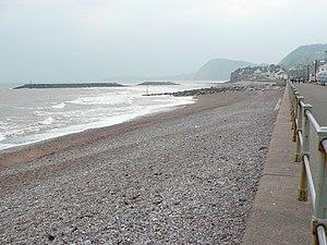 English: Sidmouth sea front Agrey sea, a grey ...
