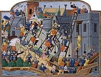 Siège de Constantinople. Miniature extraite d'un manuscrit de la Chronique de Charles VII de Jean Chartier (avant 1470).