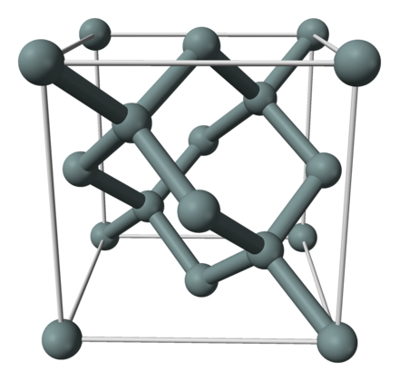 Diamond cubic crystal structure of a silicon unit cell Silicon-unit-cell-3D-balls.png