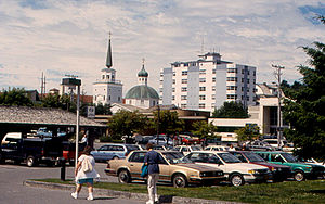 National Bank of Alaska - An NBA branch is seen in the left foreground of this June 1997 photo of downtown Sitka.  St. Michael's Cathedral and the Cathedral Apartments are in the background.
