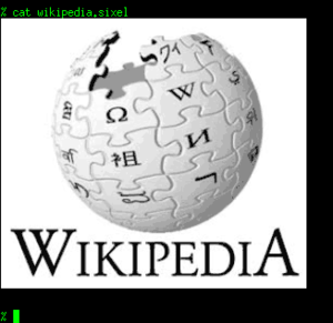 Sixel - The Wikipedia logo converted to sixel format and rendered in an xterm with VT340 emulation.