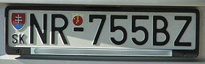 Vehicle registration plates of Slovakia - An example of Slovak car registration plate before entry of Slovakia to the EU - NR stands for Nitra District