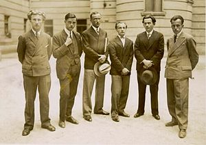 Edvard Kocbek - Kocbek (left) with a group of young Slovenian writers in Ljubljana, 1925. Left to right: Edvard Kocbek, Bogomil Hrovat, Slavko Grum, Anton Ocvirk, Josip Vidmar, Vladimir Bartol