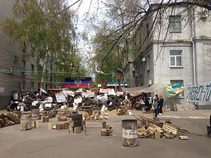 Siege of Sloviansk - Barricade in the city