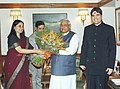 Smt. Maneka Gandhi and Shri Varun Gandhi called on the Prime Minister Shri Atal Bihari Vajpayee in New Delhi on February 16, 2004.jpg