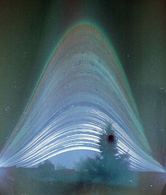 Sun path - A solargraph showing the path of the sun as seen in Budapest for every day in 2014. Photo credit: Elekes Andor