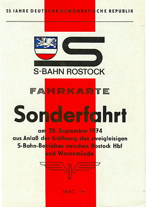 Rostock S-Bahn - Special ticket at the opening of the S-Bahn