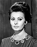 Black-and-white publicity photo of Sophia Loren in 1959.