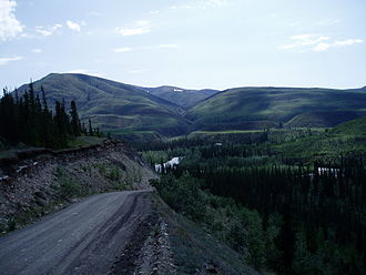 Canol Road - South Canol Road going down into the Lapie River valley