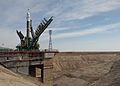 Soyuz TMA-08M spacecraft raising into position at the launch pad 2.jpg