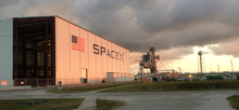SpaceX KSC LC-39A hangar progress, June 2015 (18039170043).png
