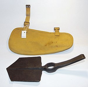 Entrenching tool - Spade, British military standard issue entrenchment tool, with loose shank and holder, 1941.
