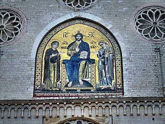 """Spoleto Cathedral - Mosaic """"Blessing Christ"""" (1207) by the Byzantine Solsternus"""