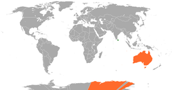 Map indicating locations of Sri Lanka and Australia
