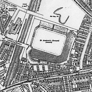 St Andrew's (stadium) - 1913 map shows layout of completed St Andrew's Ground.
