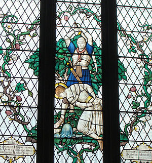 Saint Alban - Stained glass in St Albans Cathedral showing death of Saint Alban
