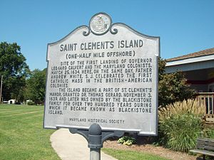 St. Clement's Island State Park - Image: St Clements Island Marker Sept 09
