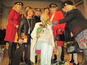 Marianne Bernadotte - Bernadotte honors fellow Stadsbrudskåren member Kjerstin Dellert on her 90th birthday, along with other members Alexandra Charles, Lill-Babs, Lill Lindfors and Christina Schollin