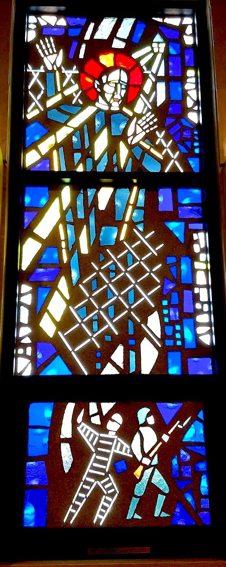 Stained glass commemorating the war dead, Community Mausoleum of All Saints Cemetery, Des Plaines, Illinois
